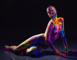 Image of futuristic graceful girl posing in studio