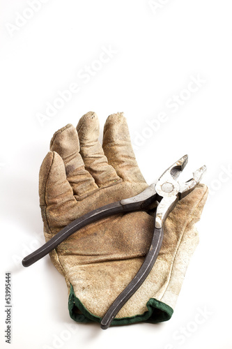 work glove and pliers