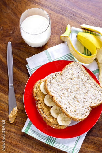 peanut butter and banana sandwich