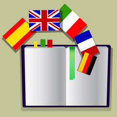 book with european flags