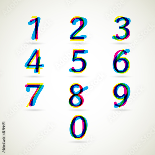 Numbers set with CMYK color style