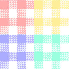 Gingham checkered fabric  in pastel colors seamless pattern set