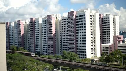 Singapore Mass Rapid Transit traveling through neighbourhood