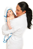 Mother and baby in bathrobes