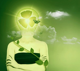Green energy and eco protection concept. Female abstract portrai