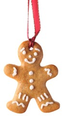 Christmas gingerbread cookie hanging on white background.