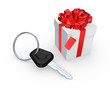 Key from car and giftbox.