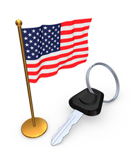 American flag and key from car.