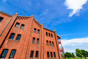 An Old Red Brick Warehouse in Brick park, Yokohama, Japan.