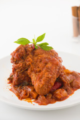 curry chicken rendang cooked in indian style with spicy sauce an