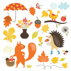 Cartoon animals and autumnal elements, vector set