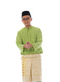 Malay male greetings during hari raya  with isolated white backg