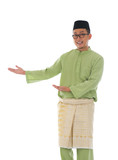 Traditonal Malay man with welcome gesture during ramadan isolate