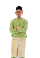 Malay male during ramadan festival with isolated white backgroun