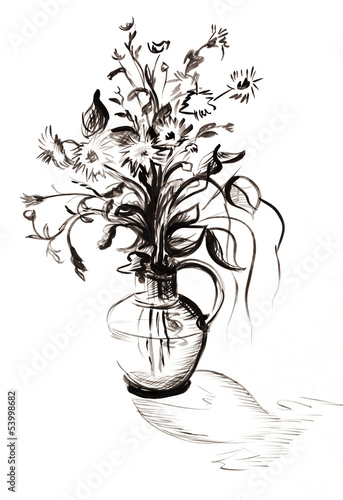 Bouquet black-and-white