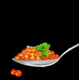 vector red caviar with parsley and a spoon on a black background