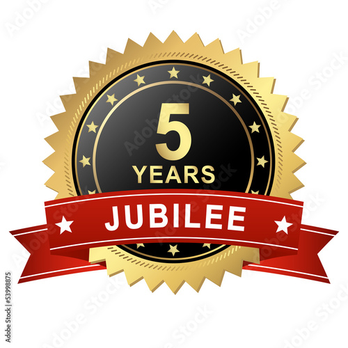 Jubilee Button with Banner - 5 YEARS