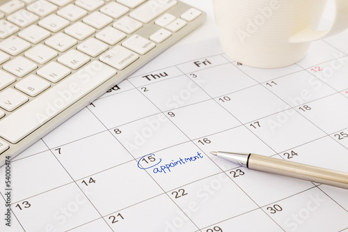 appointment schedule on office table