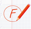 F letter written with a red pencil.