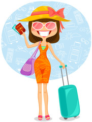 woman traveling to tropical destination
