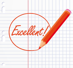 Excellent ! written with a red pencil.
