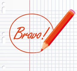 Bravo ! written with a red pencil.