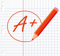 A+ ! written with a red pencil.