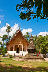 """A temple """"Wat Aham"""" with blue sky in Luang Prabang"""