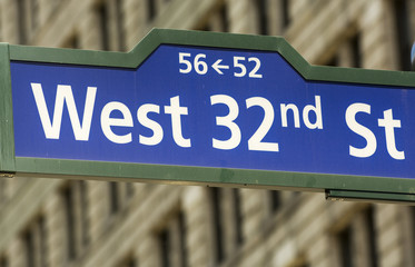 West 32nd street sign in New York City