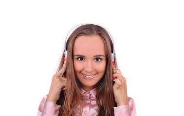 девушка в наушниках, музыка