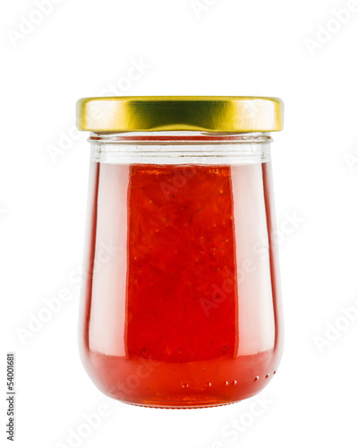 Strawberry marmalade jam in glass jar