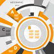 orange abstract technical infographic rings with letters