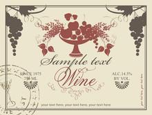 Etiqueta para el vino con un plato de fruta y lila
