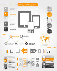 orange mobile phone world infographics