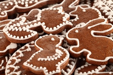 Close-up of Easter gingerbread cookies.