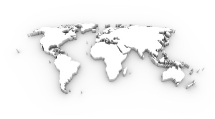 World map white with clipping path
