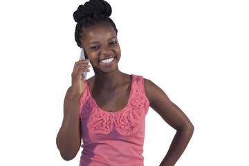 beautiful african woman making a call