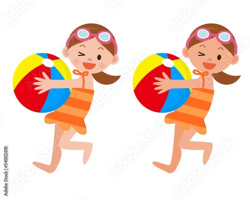 ビーチボールを持った女の子