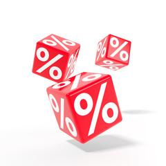 Rollende Würfel mit Prozenten - Rabattaktion / 3d Grafik