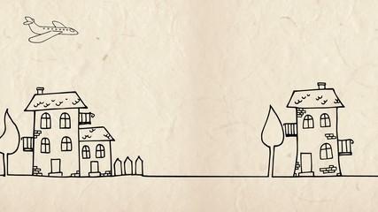 Cartoon city panorama