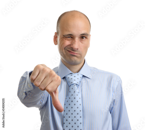 disappointed business man showing thumb down sign, isolated on w