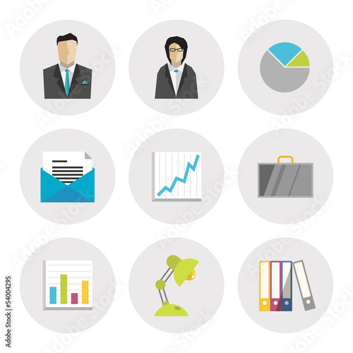 Business icons in flat design