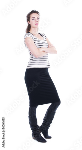 standing self-confident isolated woman on white background