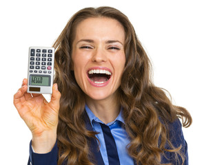 Smiling business woman showing calculator with hello inscription