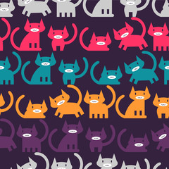 Seamless pattern with colorful little kittens