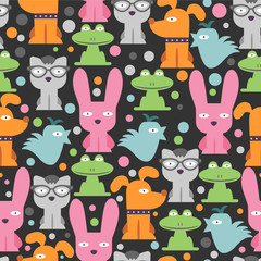 Colorful seamless pattern with funny animals