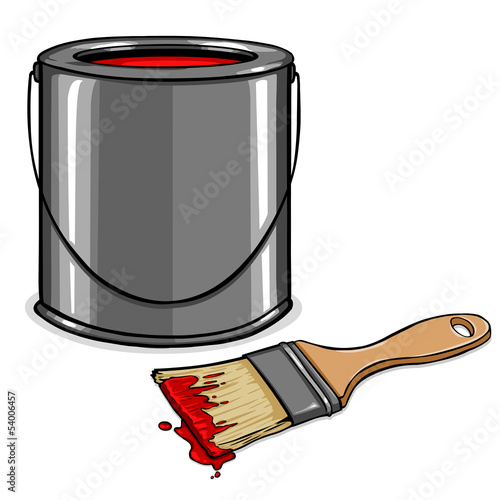 vector tin with red paint and paint brush