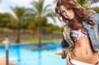 Portrait of a beautiful woman in bikini outdoor