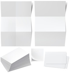 Blanks white paper, business cards, a stack of business cards. V