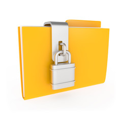 Protected Yellow Folder with lock isolated on white